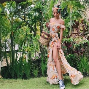 Floral Slit Dress Sz Small and Medium
